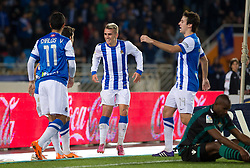 15.12.2013, Anoeta Stadium, San Sebastian, ESP, Primera Division, Real Sociedad vs Real Betis, 16. Runde, im Bild Real Sociedad's Carlos Vela, Xabi Prieto, Antoine Griezman and Ruben Pardo celebrate goal // Real Sociedad's Carlos Vela, Xabi Prieto, Antoine Griezman and Ruben Pardo celebrate goal during the Spanish Primera Division 16th round match between Real Sociedad and Real Betis at the Anoeta Stadium in San Sebastian, Spain on 2013/12/15. EXPA Pictures © 2013, PhotoCredit: EXPA/ Alterphotos/ Mikel<br /> <br /> *****ATTENTION - OUT of ESP, SUI*****