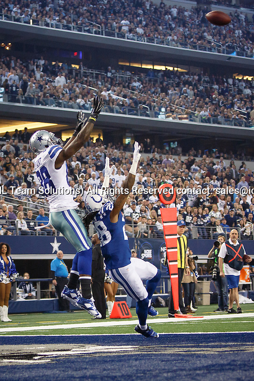 21 DEC 2014: Dallas Cowboys Wide Receiver Dez Bryant (88) [11280] catches a touchdown over Indianapolis Colts Cornerback Greg Toler (28) [12063] during the NFL game between the Dallas Cowboys and the Indianapolis Colts at AT&T Stadium in Arlington, TX.