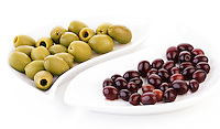 Studio shot of olives on plate