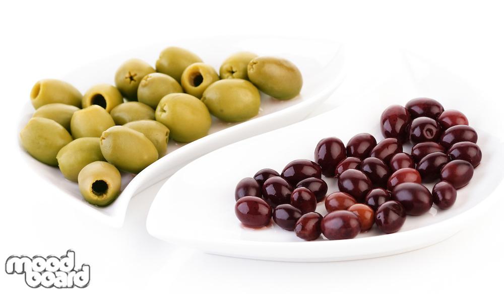 Studio shot of olives on plate