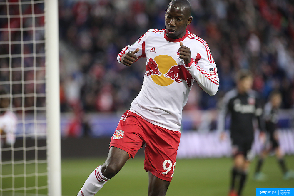 Bradley Wright-Phillips, New York Red Bulls, celebrates after scoring his sides first goal past goalkeeper Bill Hamid, DC United, during the New York Red Bulls V DC United, MLS Cup Playoffs, Eastern Conference Semifinals first leg at Red Bull Arena, Harrison, New Jersey. USA. 2nd November 2014. Photo Tim Clayton