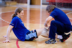 David Miklavcic and physiotherapist Gorazd Zuzek at practice of Slovenian Handball Men National Team, on June 4, 2009, in Arena Kodeljevo, Ljubljana, Slovenia. (Photo by Vid Ponikvar / Sportida)