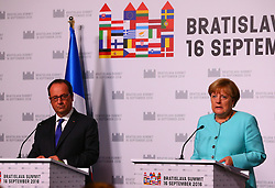 BRATISLAVA, Sept. 17, 2016 (Xinhua) -- German Chancellor Angela Merkel (R) and French President Francois Hollande hold a press conference after an informal European Union (EU) summit in Bratislava, Slovakia, Sept. 16, 2016. EU members on Friday issued a joint declaration, formulating a road map for the bloc to tackle challenges, said Slovak Prime Minister Robert Fico. (Xinhua/Gong Bing) (wtc) (Credit Image: © Gong Bing/Xinhua via ZUMA Wire)