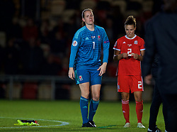 NEWPORT, WALES - Tuesday, September 3, 2019: Wales' goalkeeper Laura O'Sullivan looks dejected at the final whistle after Northern Ireland score an injury time equalising goal during the UEFA Women Euro 2021 Qualifying Group C match between Wales and Northern Ireland at Rodney Parade. The game ended in a 2-2 draw. (Pic by David Rawcliffe/Propaganda)