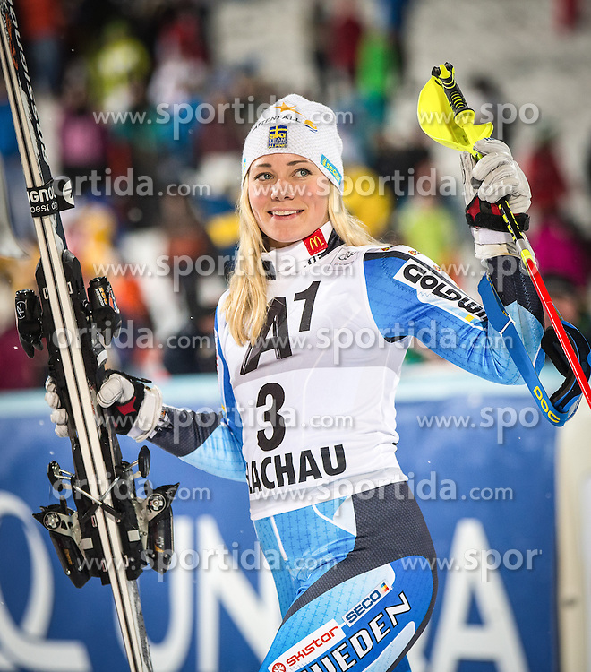 14.01.2014, Hermann Maier Weltcupstrecke, Flachau, AUT, FIS Weltcup Ski Alpin, Slalom, Damen, Siegerehrung, im Bild Frida Hansdotter (SWE) // Frida Hansdotter of Sweden  celebrate on Podium after the ladies Slalom of the FIS Ski Alpine World Cup at the Hermann Maier World Cup course in Flachau, Austria on 2014/01/14. EXPA Pictures © 2013, PhotoCredit: EXPA/ Johann Groder