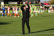 Forest Green Rovers manager, Mark Cooper applauds the fans at the end of the match during the EFL Sky Bet League 2 match between Forest Green Rovers and Cheltenham Town at the New Lawn, Forest Green, United Kingdom on 20 October 2018.