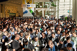 Thousands of attendees arrive at Moscone West for the annual 3-day  2012 Google I/O Developer Conference in San Francisco, California.