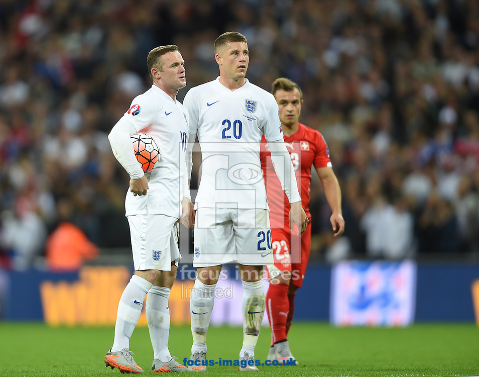 Wayne Rooney of England prepares to take his penalty during the UEFA Euro 2016 Qualifying match at Wembley Stadium, London<br /> Picture by Daniel Hambury/Focus Images Ltd +44 7813 022858<br /> 08/09/2015