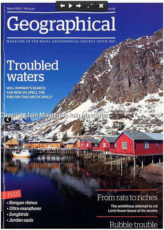 Geographical magazine; Front cover, Lofoten Islands in Norway