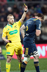 Referee Angus Gardner shows the yellow card to Highlanders Elliot Dixon against the Crusadersin the Super Rugby quarter final match, AMI Stadium, Christchurch, New Zealand, July 22 2017.  Credit:SNPA / Adam Binns ** NO ARCHIVING**