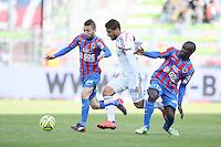 Nicolas BENEZET / Nabil FEKIR / Ngolo KANTE - 09.05.2015 -  Caen / Lyon  - 36eme journee de Ligue 1<br />Photo : Vincent Michel / Icon Sport