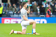 Keiran Tierney takes on fluids before the Betfred Scottish Cup final between Motherwell and Celtic at Hampden Park, Glasgow, United Kingdom on 26 November 2017. Photo by Kevin Murray.