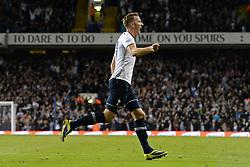 Tottenham's Harry Kane celebrates scoring a goal - Photo mandatory by-line: Mitchell Gunn/JMP - Tel: Mobile: 07966 386802 30/10/2013 - SPORT - FOOTBALL - White Hart Lane - London - Tottenham Hotspur v Hull City - Capital One Cup - Fourth Round