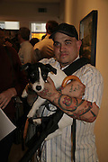Frankie B and his dog: Beuy, The Living Is Easy - private view . Flowers East, 82 Kingsland Road, London, E2, Mixed photography exhibition. 10 August 2006. ONE TIME USE ONLY - DO NOT ARCHIVE  © Copyright Photograph by Dafydd Jones 66 Stockwell Park Rd. London SW9 0DA Tel 020 7733 0108 www.dafjones.com