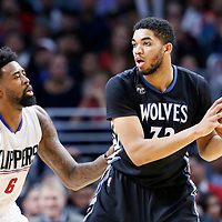 03 February 2016: Los Angeles Clippers center DeAndre Jordan (6) defends on Minnesota Timberwolves center Karl-Anthony Towns (32) during the Minnesota Timberwolves 108-102 victory over the Los Angeles Clippers, at the Staples Center, Los Angeles, California, USA.