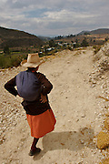 AN OLD WOMAN IS GOING UP A ROAD IN ONE OF THE HILLS OF THE CITY OF LAMUD IN THE NORTH ANDES