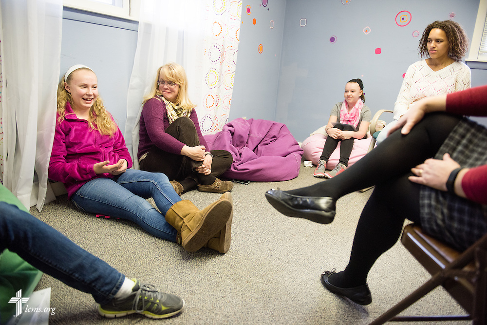 (L-R) Lauren Garbisch, Anna Gaskell (speaking), Cheryl Evans, Katie Doherty, Jaedyn Meyer, and Melissa Cleary, share thoughts during a small group session following worship at Brookfield Lutheran Church on Sunday, March 29, 2015, in Brookfield, Wis. LCMS Communications/Erik M. Lunsford