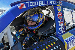 ROSEBURG, OR - AUGUST 27: Todd Gilliland driver of the #16 NAPA Auto Parts Toyota sits in his car during practice for the NASCAR K&N Pro Series West Toyota/NAPA Auto Parts 150 at the Douglas County Speedway on August 27, 2016 in Roseburg, Oregon. (Photo by Jason O. Watson/NASCAR via Getty Images) *** Local Caption *** Todd Gilliland