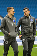 Solly March (Brighton) & Adam Webster (Brighton) arriving at the stadium ahead of the Premier League match between Brighton and Hove Albion and Everton at the American Express Community Stadium, Brighton and Hove, England on 26 October 2019.