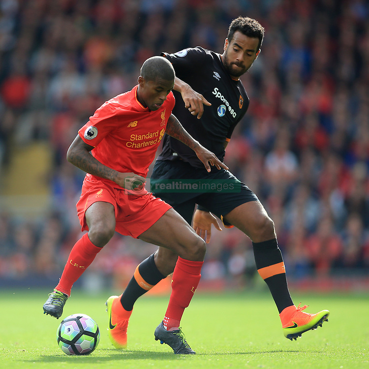 24th September 2016 - Premier League - Liverpool v Hull City - Georginio Wijnaldum of Liverpool battles with Tom Huddlestone of Hull - Photo: Simon Stacpoole / Offside.