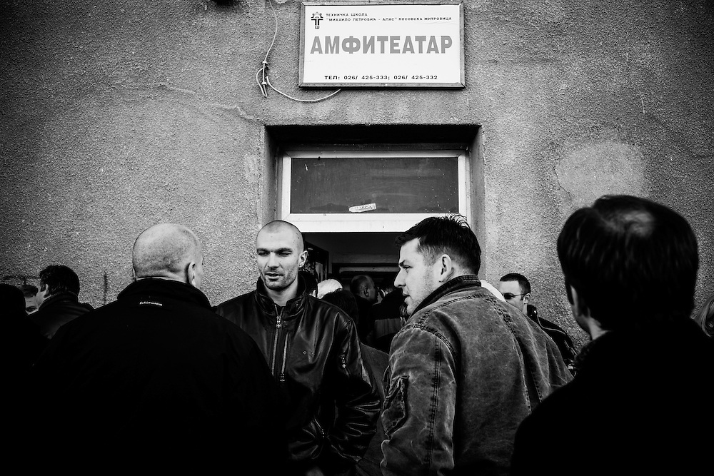 Local Kosovan Serbs outside a meeting in northern Mitrovica