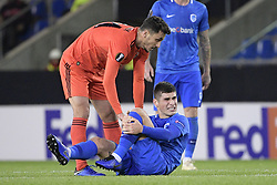 November 8, 2018 - Genk, BELGIUM - Besiktas' Mustafa Pektemek and Genk's Ruslan Malinovski pictured during a match between Belgian soccer team KRC Genk and Turkish club Besiktas, in Genk, Thursday 08 November 2018 on day four of the UEFA Europa League group stage, in group I. BELGA PHOTO YORICK JANSENS (Credit Image: © Yorick Jansens/Belga via ZUMA Press)