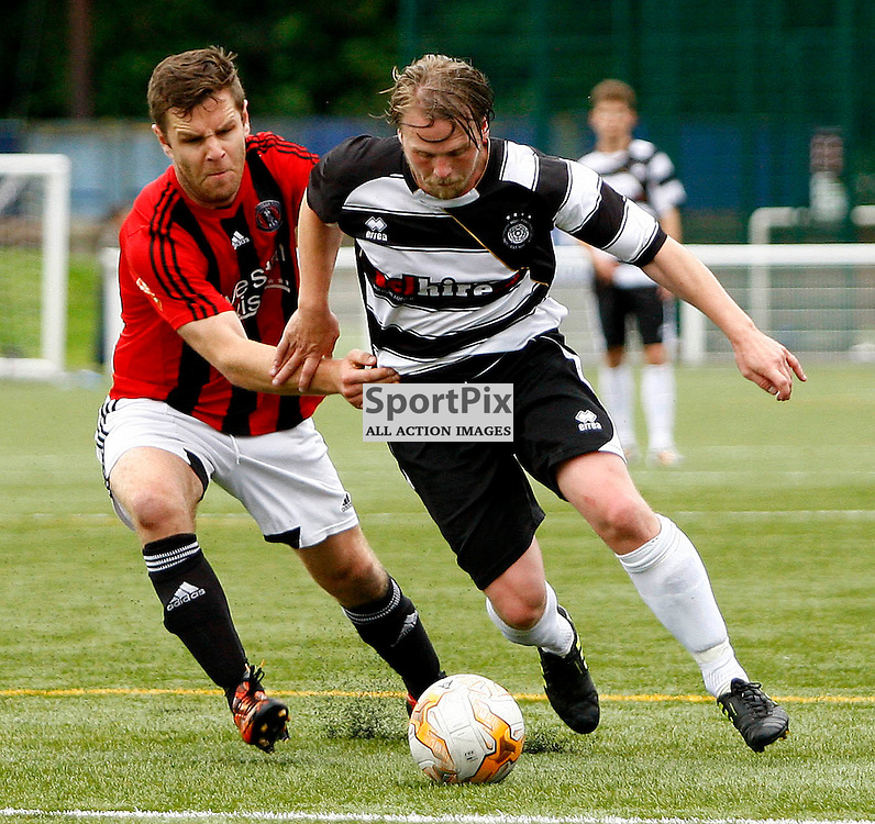 Linlithgow's Graham Weir gets away from Gala defender David Bonnar<br /> in the William Hill Scottish Cup Match 1st Round Match at Netherdale<br /> (c) Andrew West | SportPix.org.uk