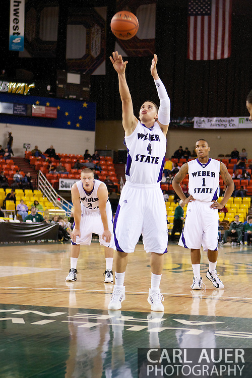 November 27th, 2010:  Anchorage, Alaska - Weber State sophomore Scott Bamforth (4) at the free throw line in the Wildcat 82-81third place game victory over the Drake Bulldogs at the Great Alaska Shootout.