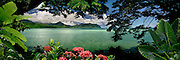 "Panoramic window to paradise on Kaneohe Bay on the island of Oahu, Hawaii. Canvas Giclee 14""x50"" Limited Edition of 350."