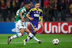 André Carrillo of Sporting during football match between NK Maribor and Sporting Lisbon (POR) in Group G of Group Stage of UEFA Champions League 2014/15, on September 17, 2014 in Stadium Ljudski vrt, Maribor, Slovenia. Photo by Matic Klansek Velej  / Sportida.com