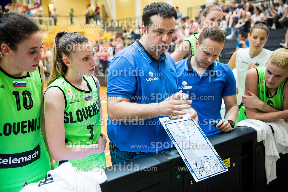 Tina Jakovina, Rebeka Abramovic, Damir Grgic, head coach of Slovenia during friendly basketball match between Women National teams of Slovenia and Croatia before FIBA Eurobasket Women 2017 in Prague, on June 1, 2017 in Celje, Slovenia. Photo by Vid Ponikvar / Sportida