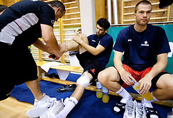 Teo Djekic, Saso Ozbolt and Uros Slokar during practice session of Slovenian National Basketball team during training camp for Eurobasket Lithuania 2011, on July 12, 2011, in Arena Vitranc, Kranjska Gora, Slovenia. (Photo by Vid Ponikvar / Sportida)
