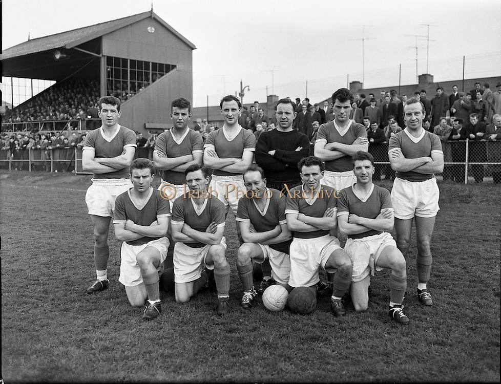 Cork Hibs Vs Jacobs. .1961..11.03.1961..03.11.1961..11th March 1961..The FAI Cup second round saw cork Hibernians pitted against  Jacobs works team at Rutland Avenue, Dublin...Image shows the Cork Hibernians Team.