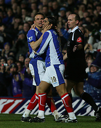 Portsmouth, England - Saturday, February 10, 2007: Portsmouth's Pedro Mendes celebrates score the first goal with Matthew Taylor against Manchester City during the Premiership match at Fratton Park. (Pic by Chris Ratcliffe/Propaganda)