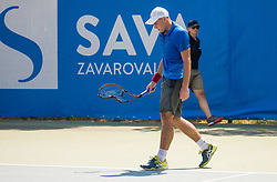 Aslan Karatsev (RUS) broke his racket during Day 5 at ATP Challenger Zavarovalnica Sava Slovenia Open 2018, on August 7, 2018 in Sports centre, Portoroz/Portorose, Slovenia. Photo by Vid Ponikvar / Sportida