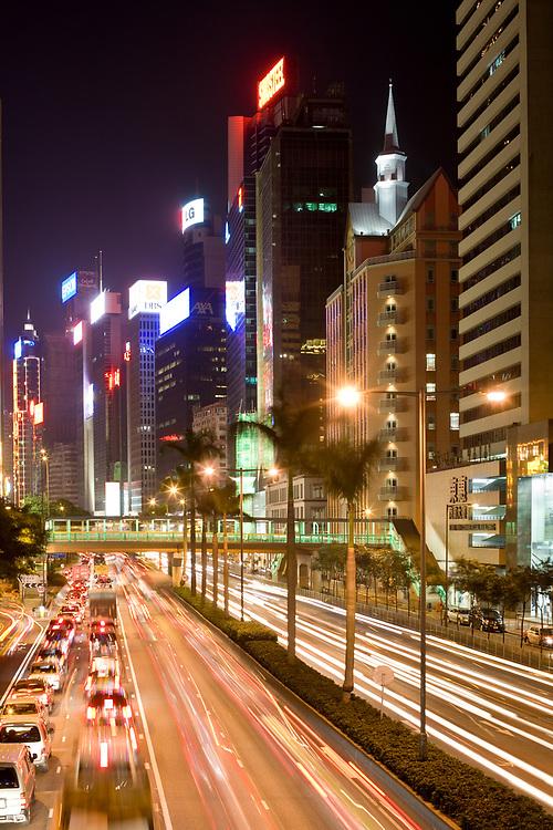 Hong Kong, Wan Chai, China - December 05, 2008: Traffic at Gloucester Road at night.