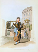Woman selling rabbits in a town street. From William Henry Pyne 'The Costume of Great Britain', London, 1808. Aquatint.