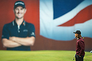 Tommy Fleetwood of England waits to take his put on the 18th during the British Masters 2018 at Walton Heath Golf Course, Walton On the Hill, Surrey  on 11 October 2018. Picture by Martin Cole.