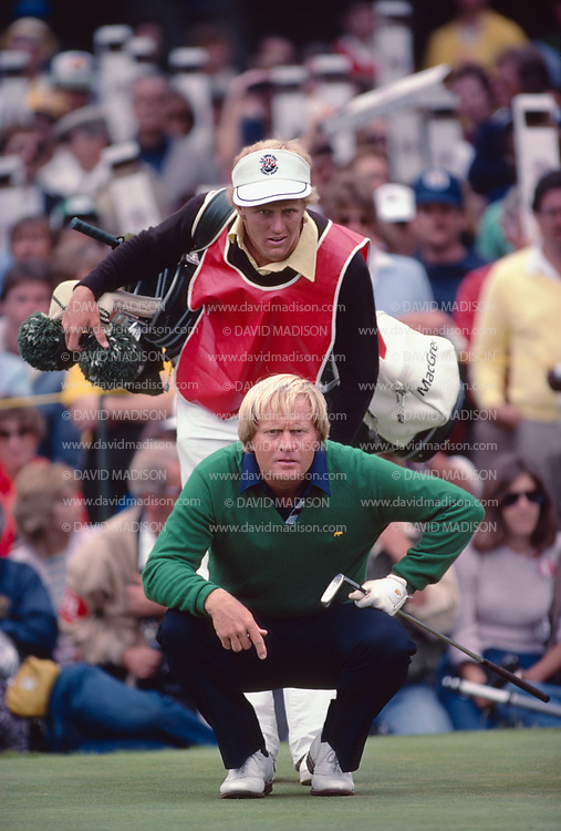 PEBBLE BEACH, CA -  JUNE 20:  Jack Nicklaus and his son and caddie Jackie Nicklaus line up a put during the 1982 US Open on June 20, 1982 in Pebble Beach, California.  Nicklaus finished second in the tournament. (Photo by David Madison/Getty Images) *** Local Caption *** Jackie Nicklaus;Jack Nicklaus