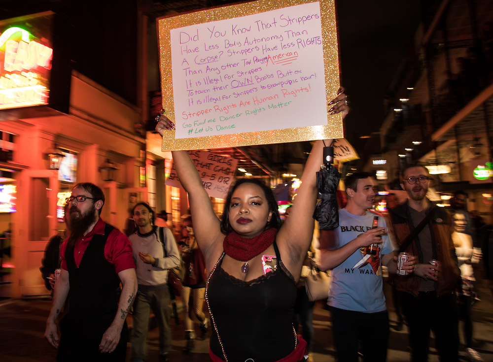 Febuary 1, 2018 New Orleans: Hundreds of Strip-club dancers, co-workers and supporters marched on Bourbon St  and around New Orleans French Quarter protesting the closure of several clubs. <br />