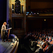 Music Hall Executive Director and WNES Producer Patricia Lynch introduces Author Bill Bryson, who appeared at a Writers on a New England Stage show at The Music Hall in Portsmouth, NH