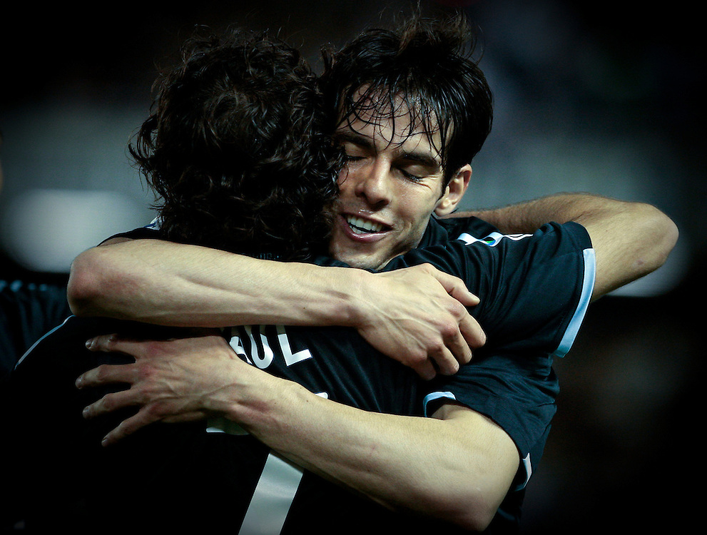 Real Madrid's Raul Gonzalez, left,  reacts after scoring against Tenerife with Kaka from Brazil, right, during a Spanish La Liga soccer match at the Heliodoro Rodriguez Lopez stadium on the Canary Island of Santa Cruz de Tenerife, Spain, Saturday, Feb. 27, 2010.