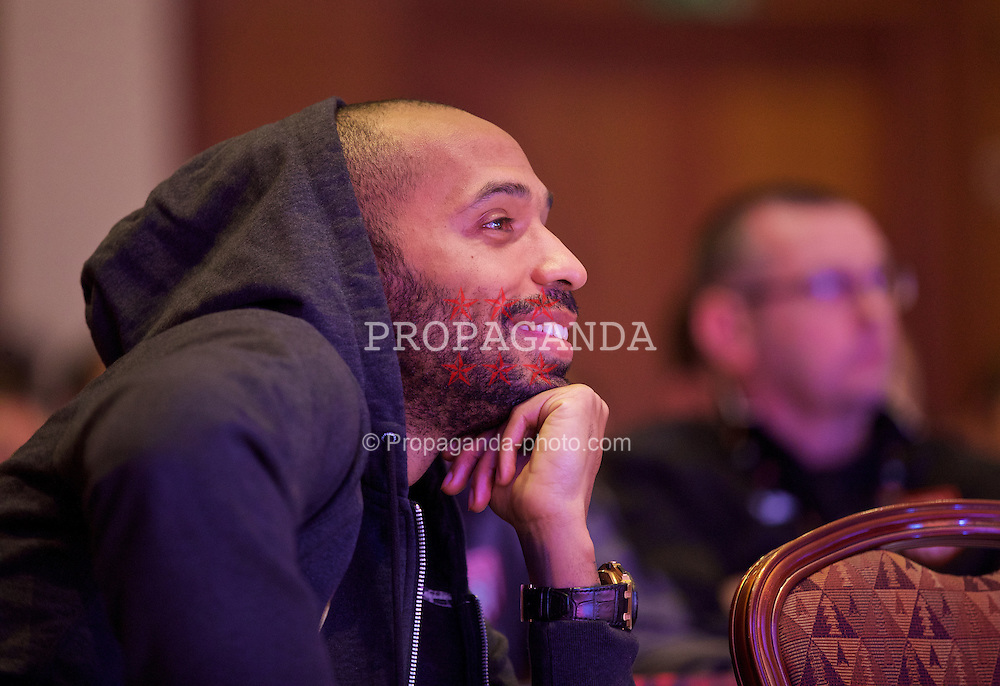 NEWPORT, WALES - Friday, May 29, 2015: Thierry Henry during the Football Association of Wales' National Coaches Conference 2015 at the Celtic Manor Resort. (Pic by David Rawcliffe/Propaganda)
