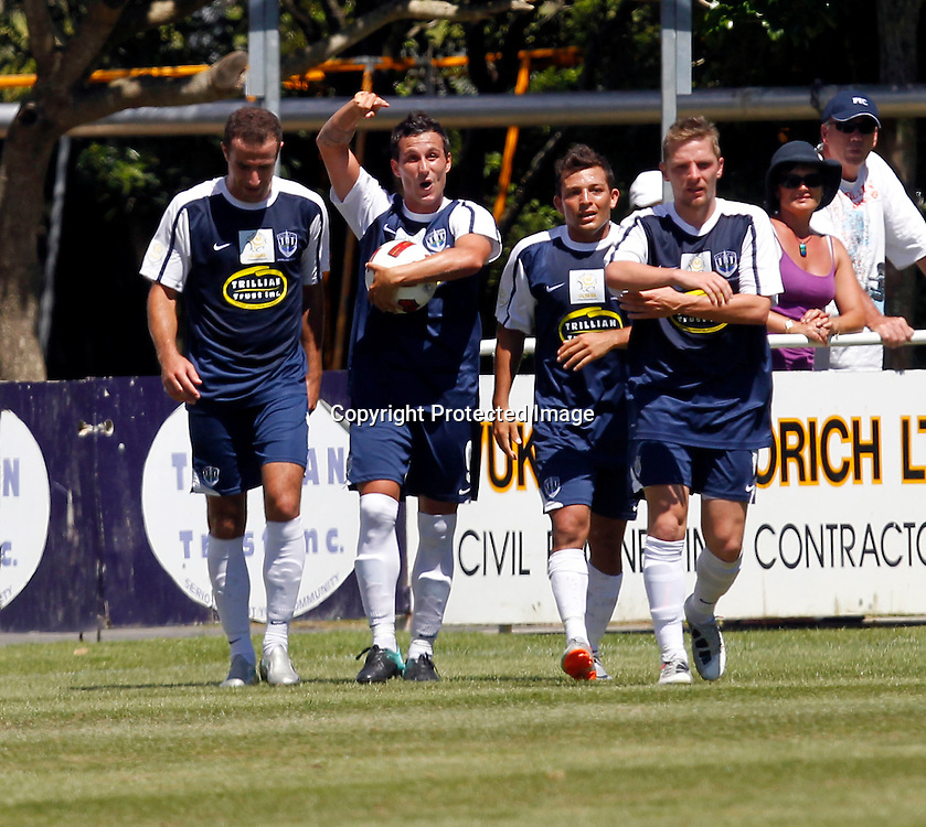 Auckland's Manel Exposito (2nd left) celebrate scoring the 1st goal of the match. ASB Premiership, Auckland City FC v Team Wellington, Kiwitea Street Auckland, Sunday 13th February 2011. Photo: Shane Wenzlick