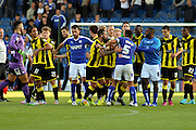 Chesterfield FC miffielder Sam Morsy gets in to a post-match scuffle during the Sky Bet League 1 match between Chesterfield and Burton Albion at the Proact stadium, Chesterfield, England on 26 September 2015. Photo by Aaron Lupton.