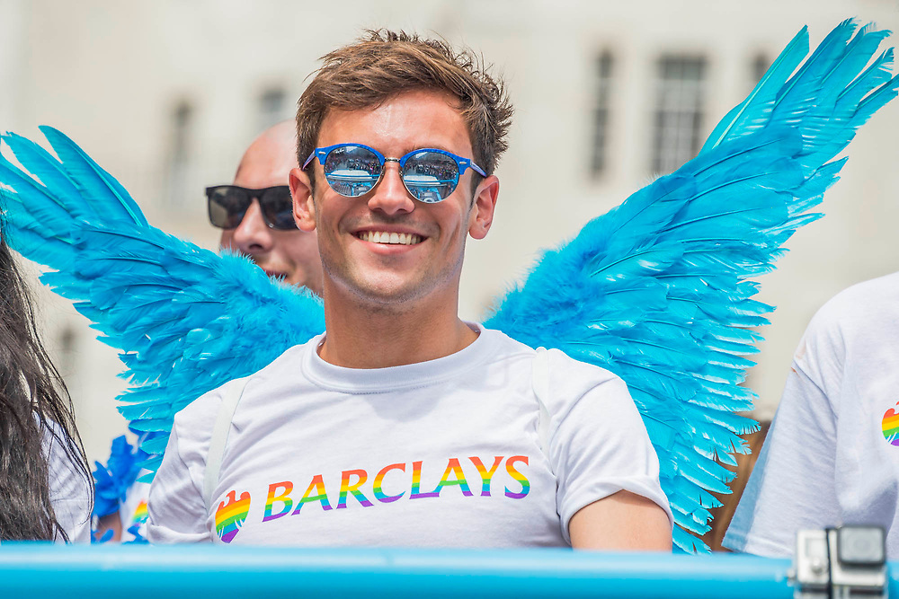 Tom Daley with angels wings on teh Barclays float - The annual London Gay Pride march heads from Oxford Circus to Trafalgar Square.