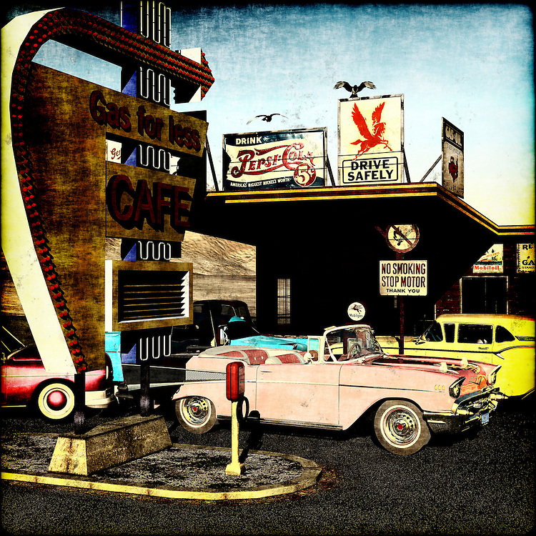 A gas station in the 50's with a Chevy Belair and a Skyliner.