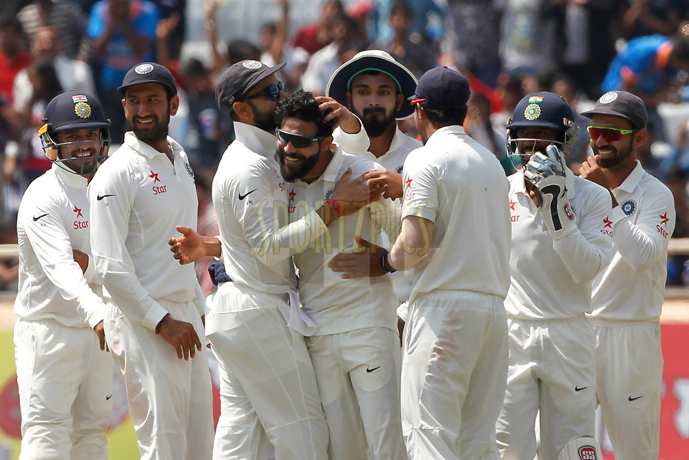 Ravindra Jadeja of India celebrates the wicket of Steven Smith Captain of Australia during day five of the third test match between India and Australia held at the JSCA International Stadium Complex in Ranchi on the 20th March 2017. <br /> <br /> Photo by: Deepak Malik / BCCI/ SPORTZPICS