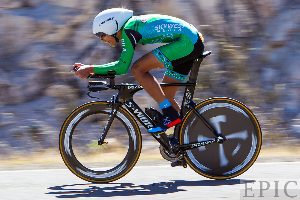 SILVERY CITY, NM - APRIL 20: Christopher Blevins (Hagens Berman Axeon) rides in the sprint jersey during  stage 3 of the Tour of The Gila on April 20, 2018 in Silver City, New Mexico. (Photo by Jonathan Devich/Epicimages.us)