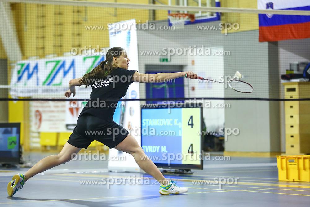 Maja Tvrdy (BK Branik) during 58th Slovenian national championship in badminton on Februar 1, 2015 in Zg. Kungota, Slovenia. (Photo By Grega Valancic / Sportida)